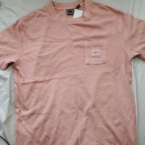 Quicksilver Coral Pink Crew Neck Pocket Surf Shirt